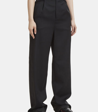 Yang Li High Waist Raw Seam Pants In Black