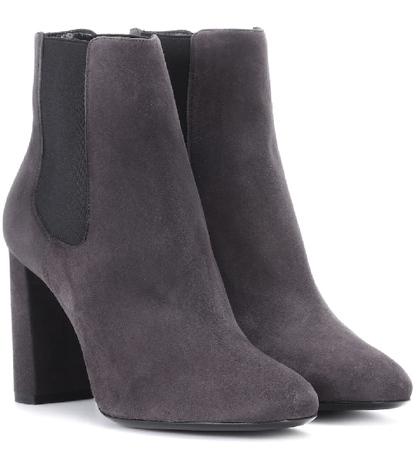 Saint Laurent Loulou 95 Suede Chelsea Ankle Boots In Grey