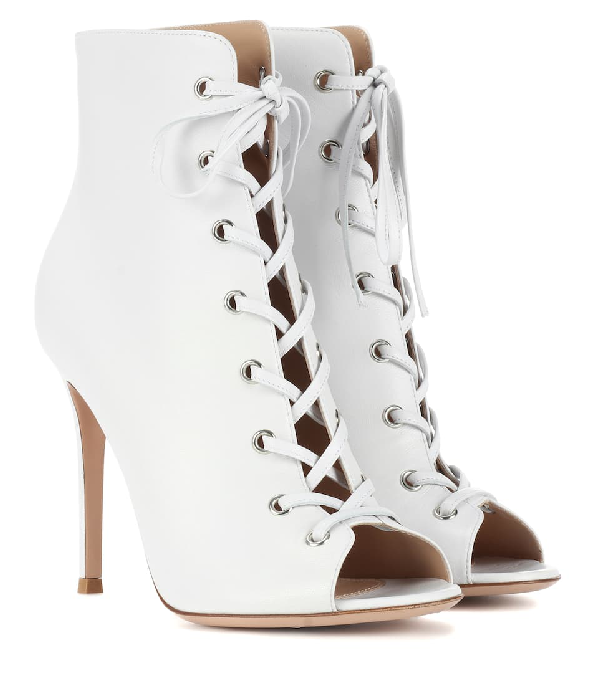 Gianvito Rossi Marie Peep-Toe Leather Ankle Boots In White
