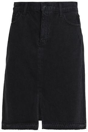 J Brand Woman Distressed Denim Skirt Black