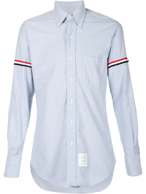 Thom Browne Slim-fit Button-down Collar Grosgrain-trimmed Cotton Oxford Shirt In Blue