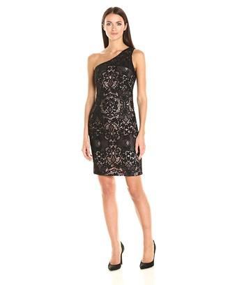 One Shoulder Lace Sheath Dress In Black