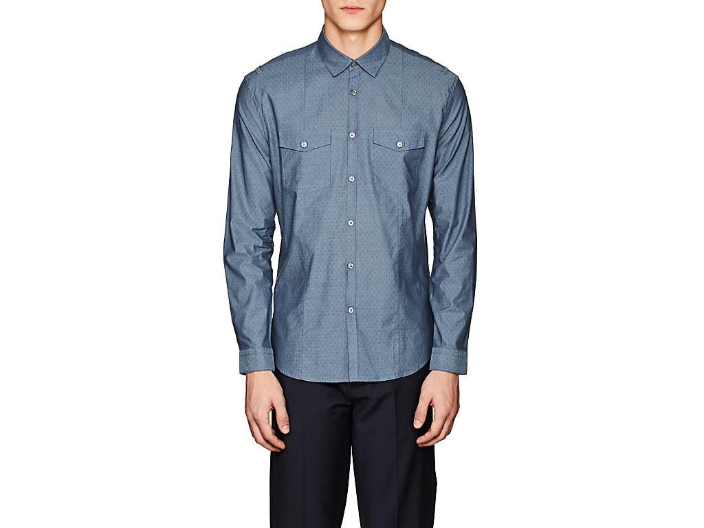 John Varvatos X Jacquard Cotton Shirt In Dk. Blue