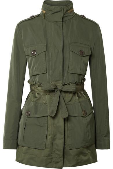 e8bc02491 Moncler Hooded Ruffled Gabardine Jacket In Green   ModeSens