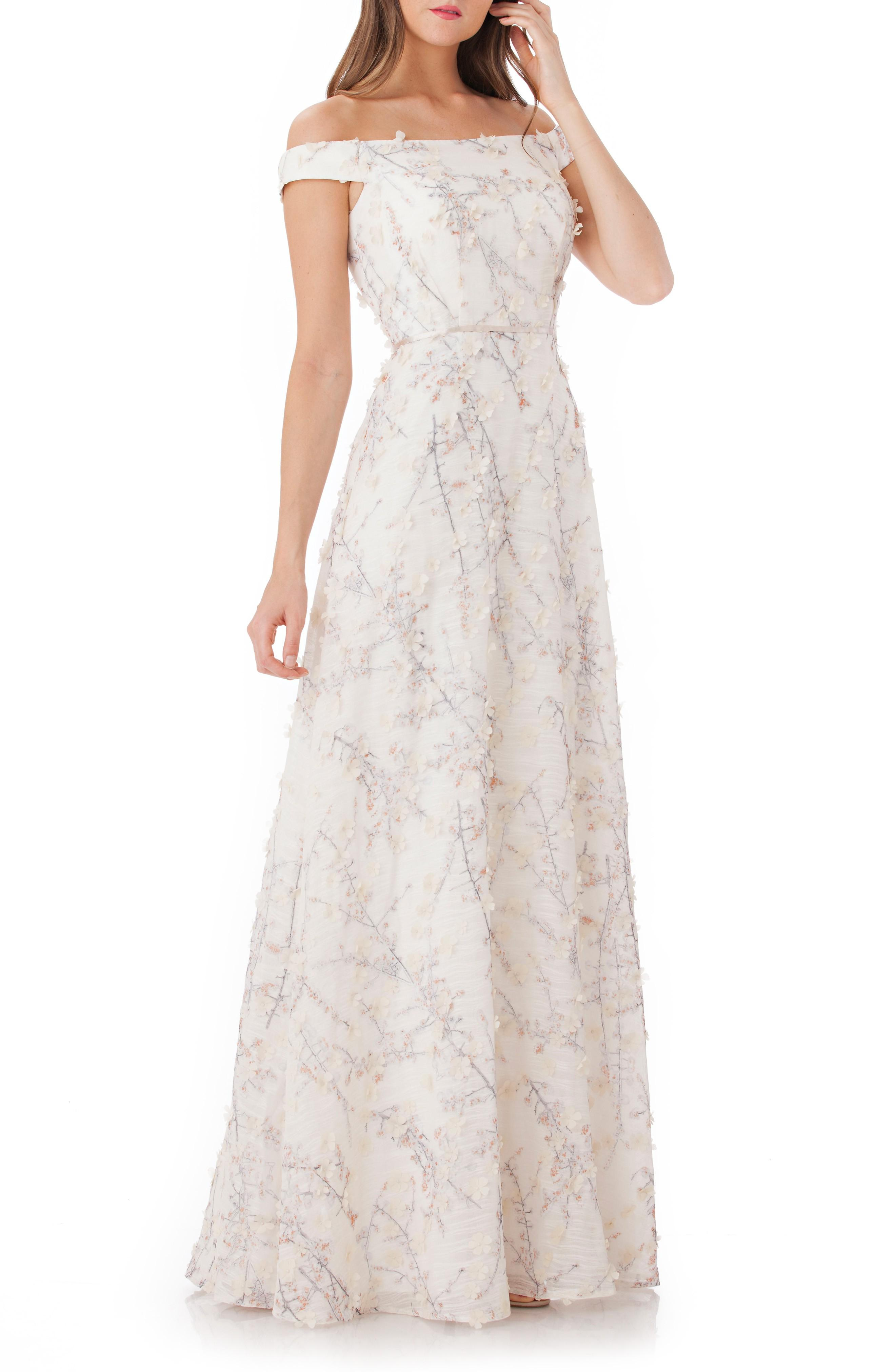 fe466a57 Carmen Marc Valvo Infusion 3D Embroidery Off The Shoulder Gown In ...