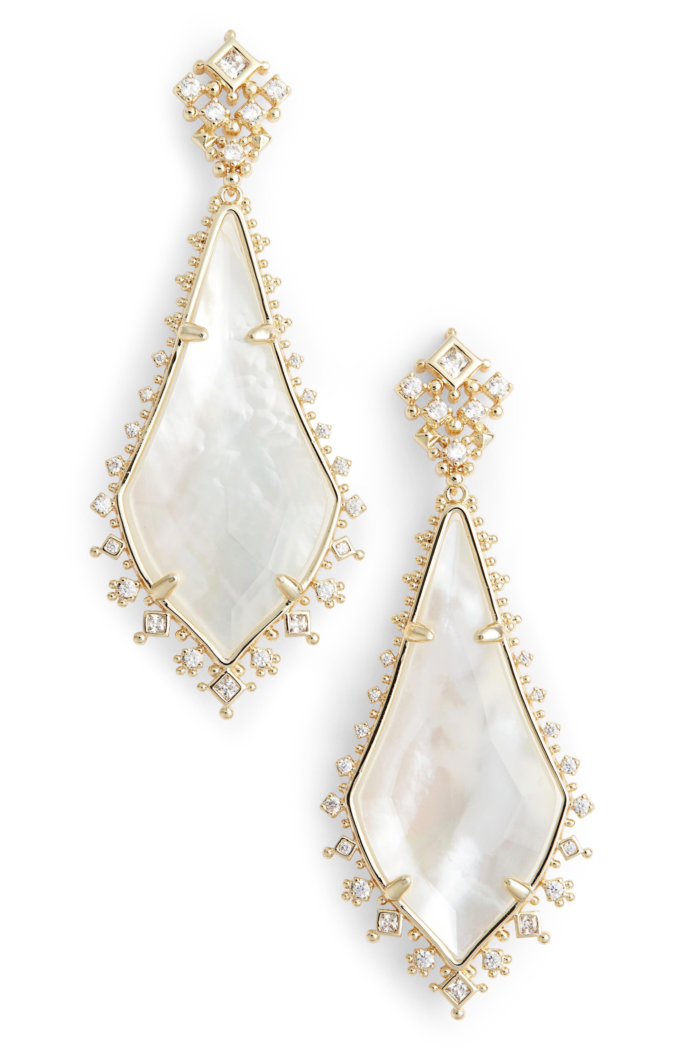 8156622286c59 Kendra Scott Martha Mother Of Pearl Drop Earrings In Rose Gold ...