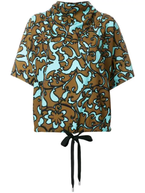 Marc Jacobs Short Sleeve Drawstring Top In Blue Multi