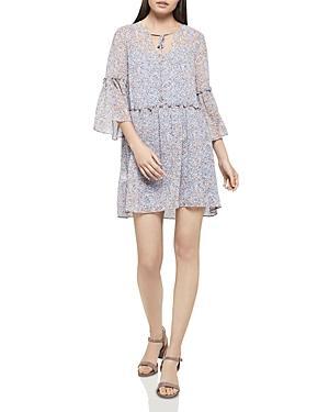 Bcbgeneration Floral Print Drop-Waist Dress In Blue Bird Combo