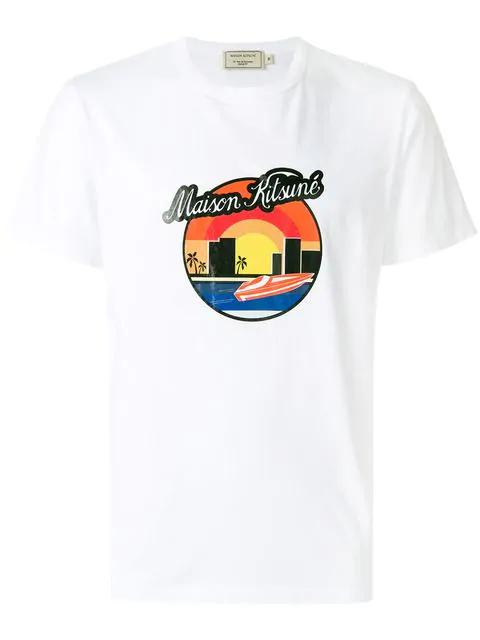 Maison KitsunÉ Sunset-Print Cotton-Jersey T-Shirt In White