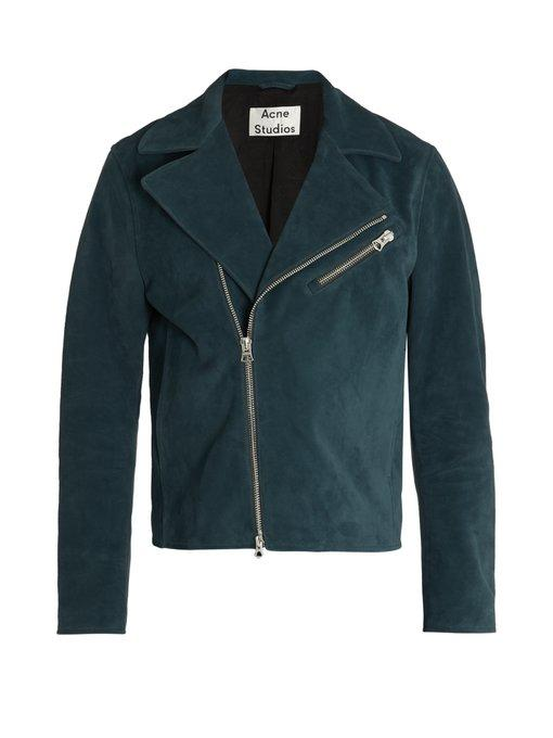 Acne Studios Axl Leather-panelled Suede Biker Jacket In Grey