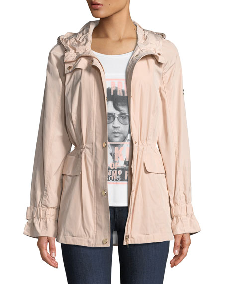 Calvin Klein Cinched-Waist Anorak Jacket In Blush