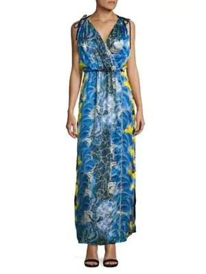 Romance Was Born Rococo Plume Robe Gown In Blue
