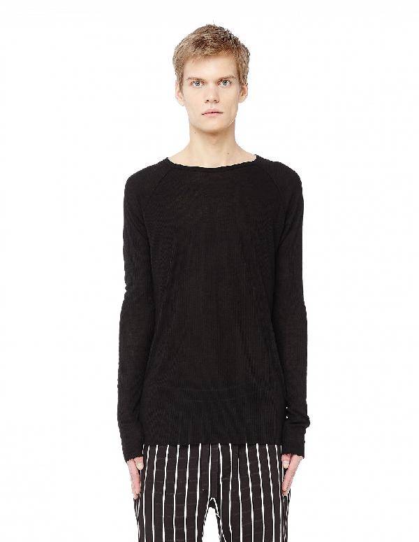 Haider Ackermann Crew Neck Ribbed Long Sleeve T-Shirt In Black