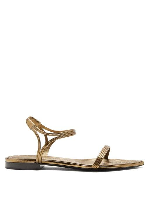 bf0026d1607 Saint Laurent Ourika   Talitha Leather-Trimmed Sandals In Bronze ...
