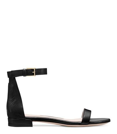 Stuart Weitzman The Nudistflat Sandal In Black Leather