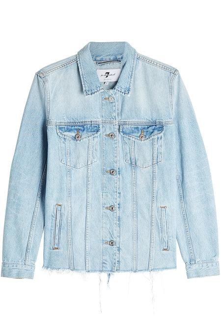 7 For All Mankind Frayed Hem Denim Jacket In Blue