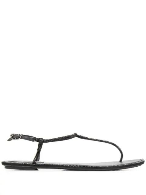 RenÉ Caovilla Diana Crystal-Embellished Leather T-Strap Sandals In R001V050 Black