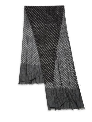 John Varvatos Crinkled Geometric-Pattern Scarf In Black
