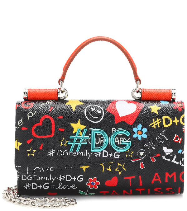 Dolce & Gabbana Printed Leather Shoulder Bag In Black