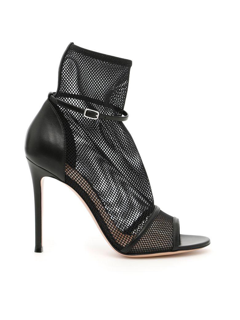 Gianvito Rossi Idol Open-Toe Boots In Black Blacknero