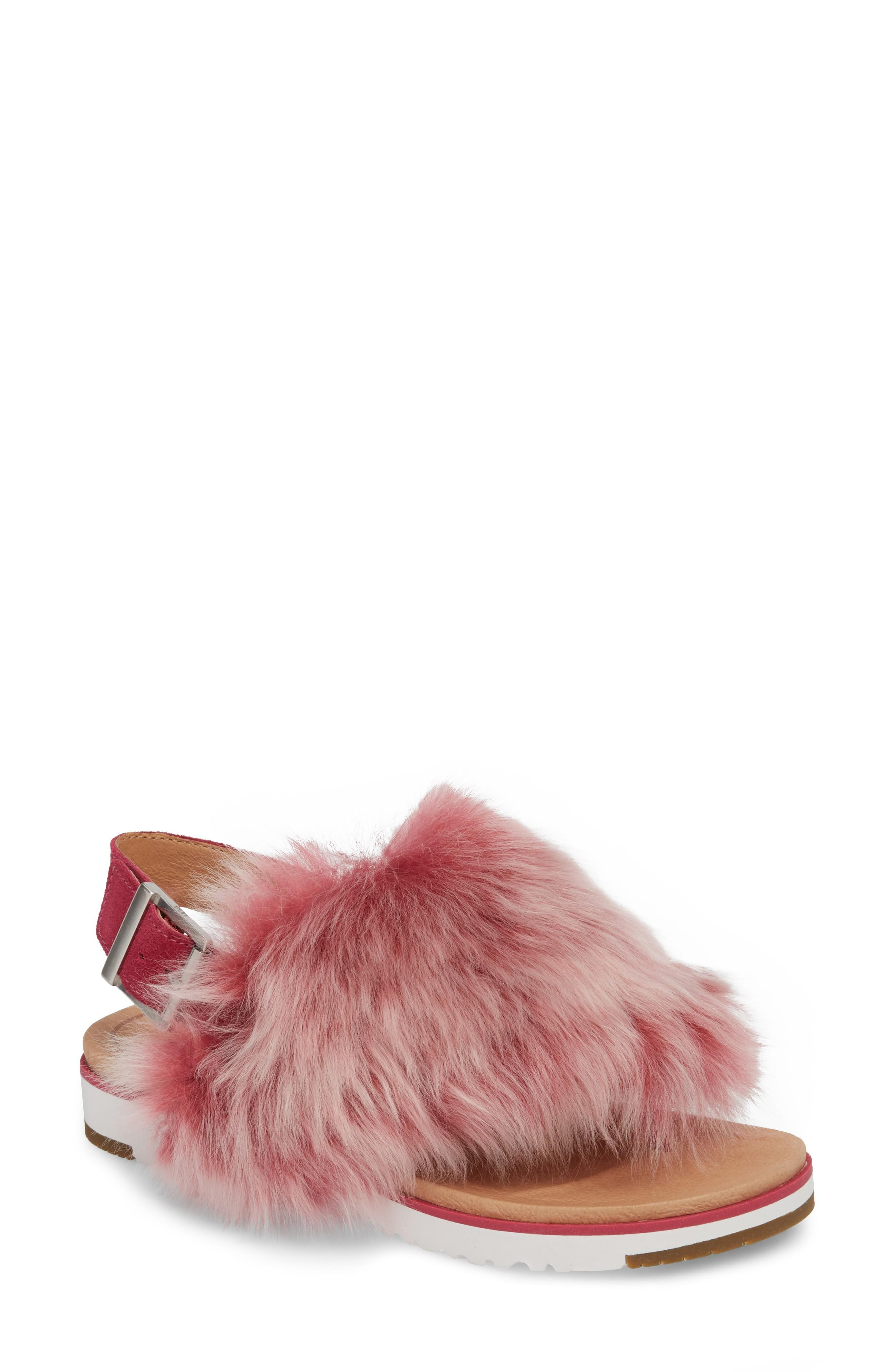 9612fbce49a Ugg Holly Genuine Shearling Sandal in Cerise