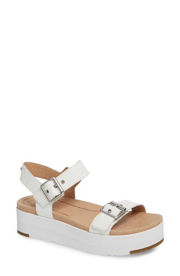 0b27bb52160 Ugg Women s Angie Leather Platform Sandals In White Leather