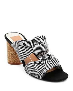 2965e8bb1d8 Dolce Vita Women s Jene Knotted Block Heel Slide Sandals In White Stripe