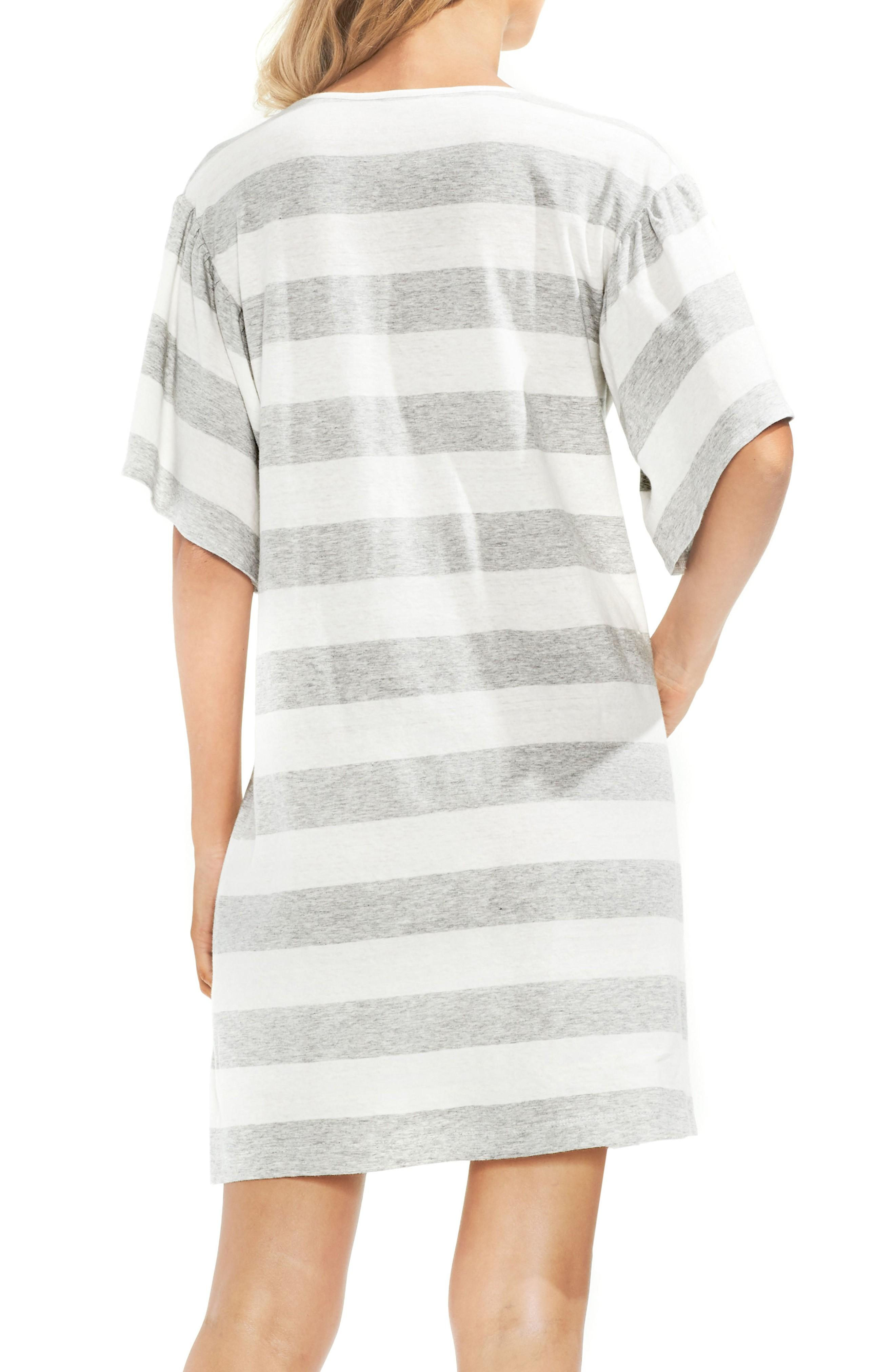 a5dc0d0461b Vince Camuto Ruffle Sleeve Stripe T-Shirt Dress In Grey Heather ...