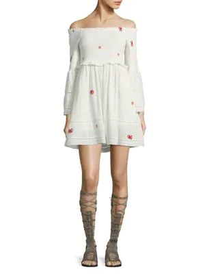376e39265fde4 Free People Counting Daisies Embroidered Off-The-Shoulder Mini Dress In  Ivory Combo