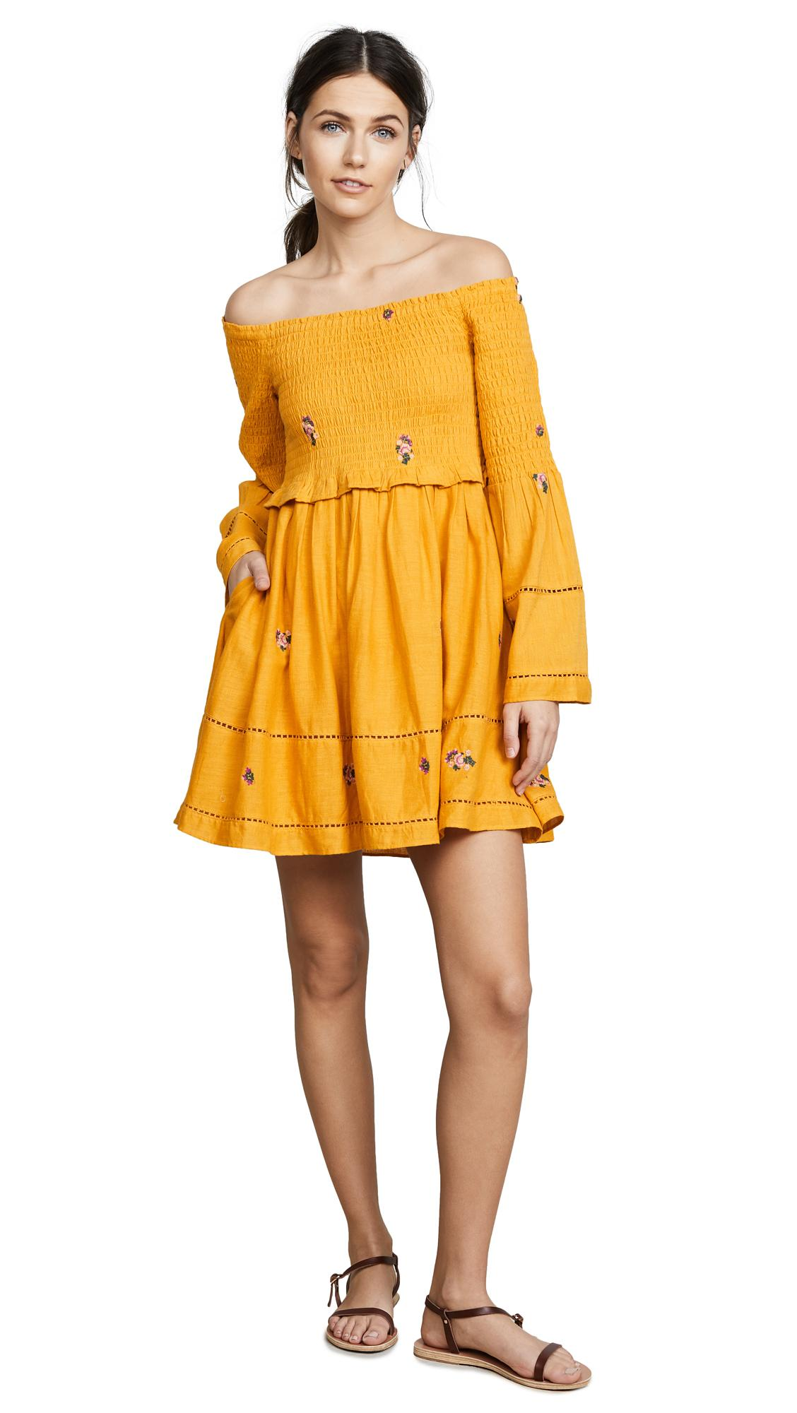 03d9767695fdf Free People Counting Daisies Embroidered Off The Shoulder Dress In Yellow