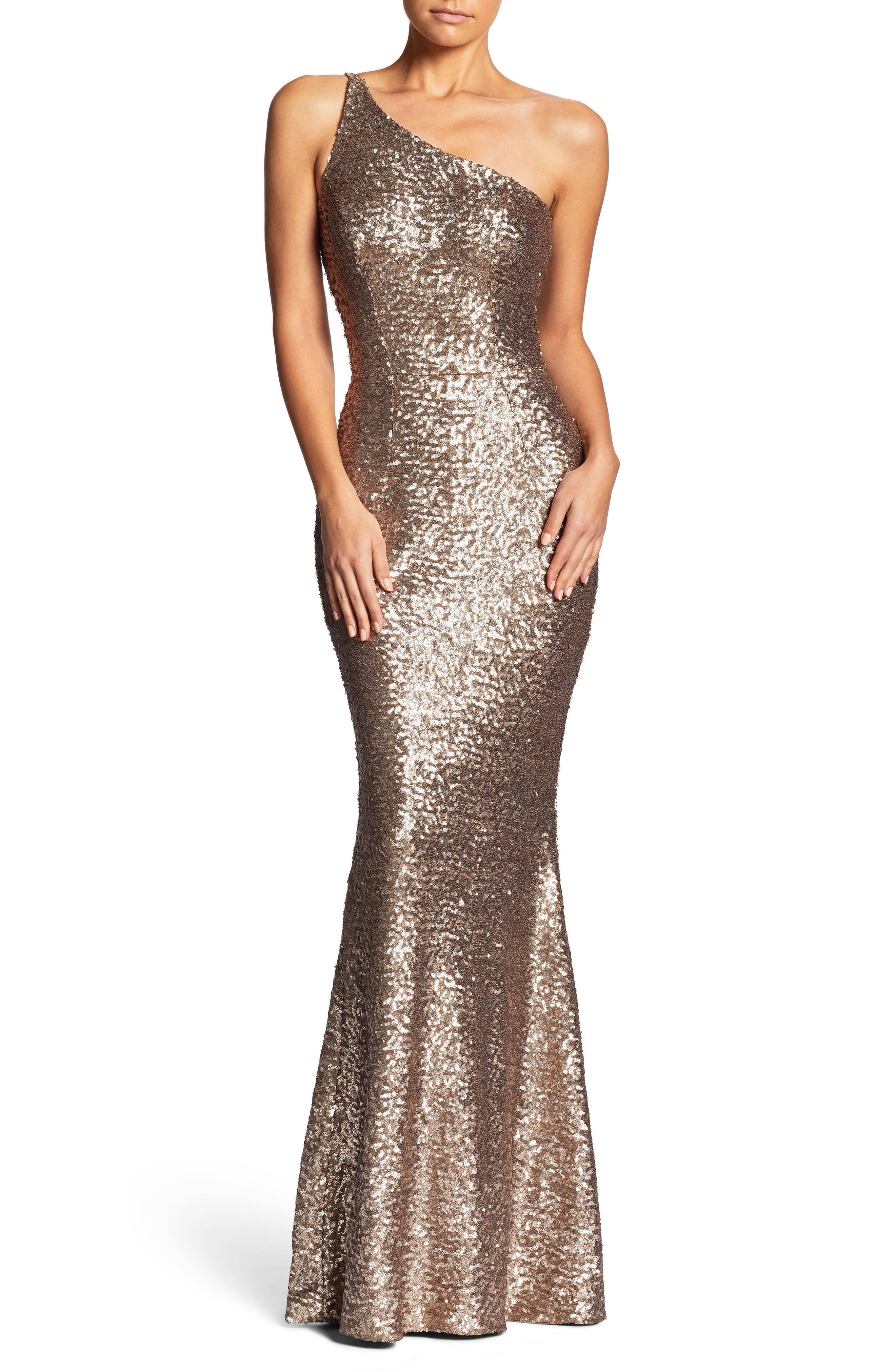 76af1914f10 Dress The Population Bella One-Shoulder Mermaid Gown In Brass | ModeSens