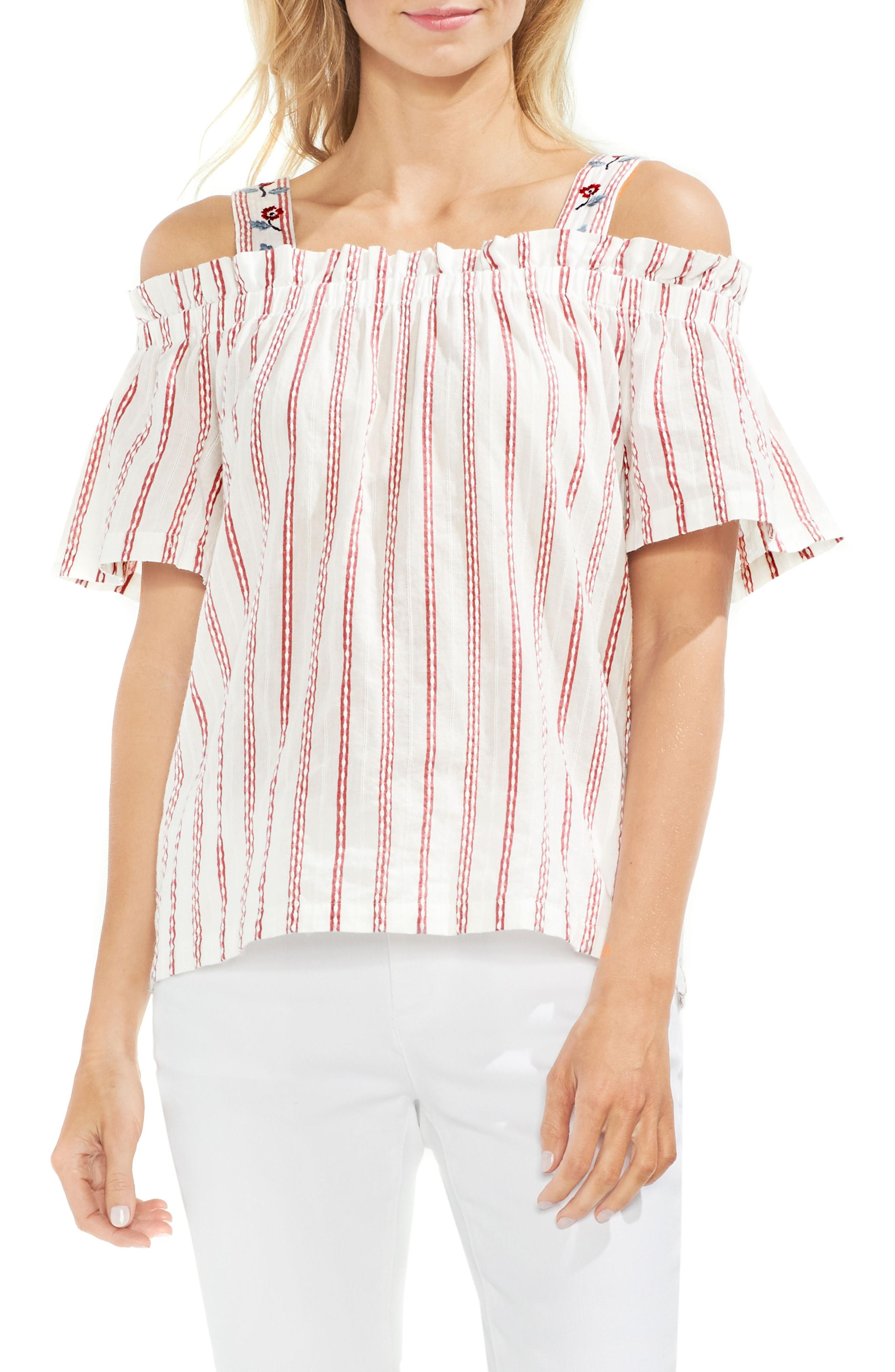 ccfb65049ebb72 ... blouse that features bubble-stitched stripes and embroidered floral  details. Style Name  Vince Camuto Embroidered Bubble Stripe Cold Shoulder  Top.
