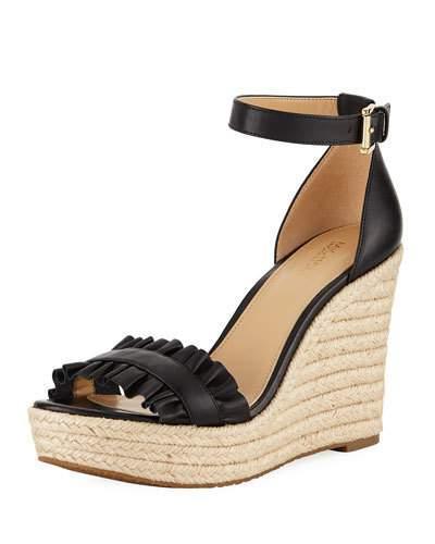 214ea31c935 Michael Michael Kors Bella Ruched Leather Wedge Sandal In Black ...