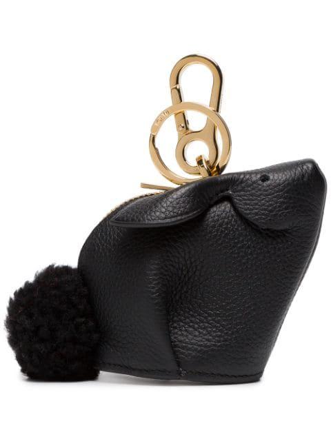 Loewe Bunny Bag Charm With Genuine Shearling - Black In 1100