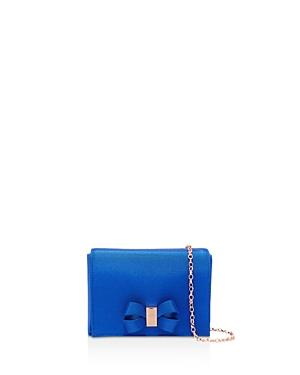 89a5b10046 Ted Baker Stacyy Looped Bow Satin Clutch In Mid Blue/Rose Gold ...