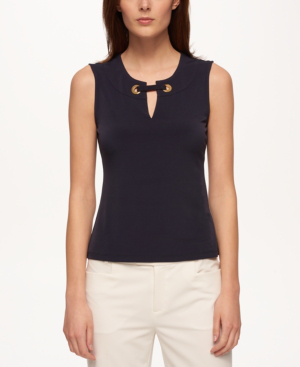 Tommy Hilfiger Embellished Split-Neck Top In Midnight