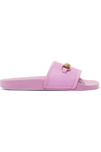 82ea2120794da Gucci Horsebit-Detailed Perforated Rubber Slides In Lilac. NET-A-PORTER