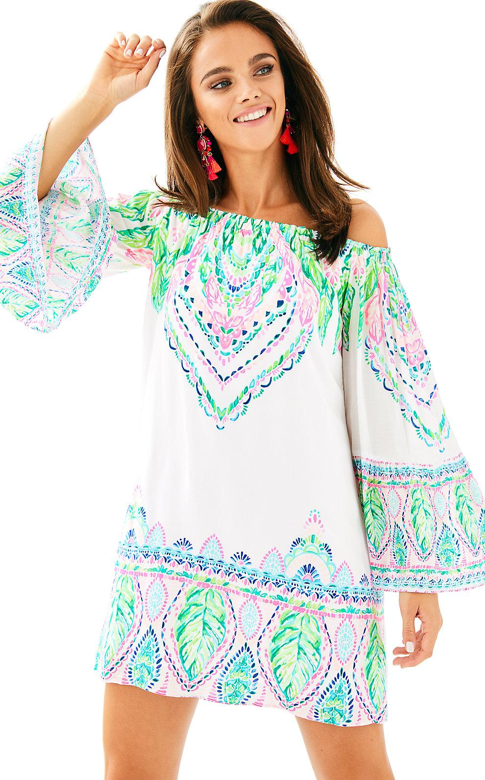 4496436d8d4488 Lilly Pulitzer Nevie Off The Shoulder Dress In Multi Coconut Coast  Engineered Dress