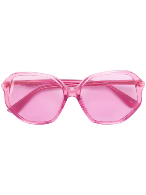 Gucci Oversized Transparent Sunglasses In Pink