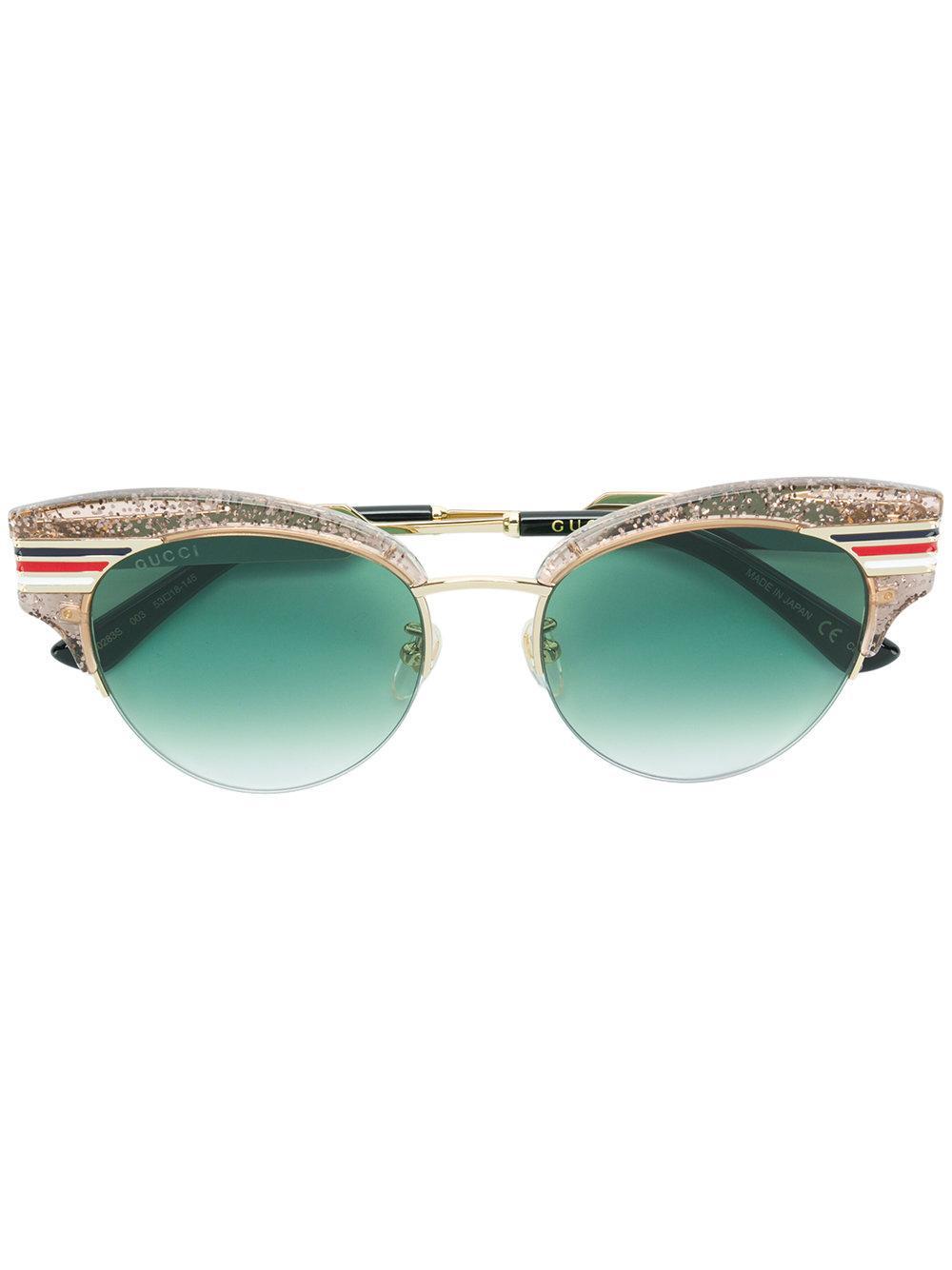 6674369a692 Gucci Eyewear Giltter Oversized Cat Eye Sunglasses - Purple