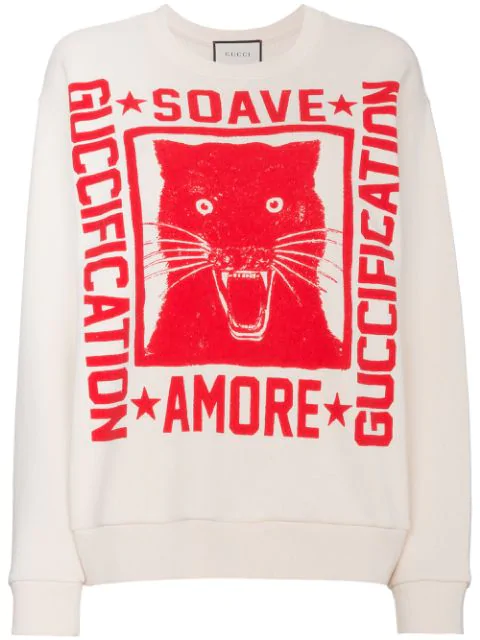 Gucci Sweatshirt With Soave Amore Fication Print In Neutrals