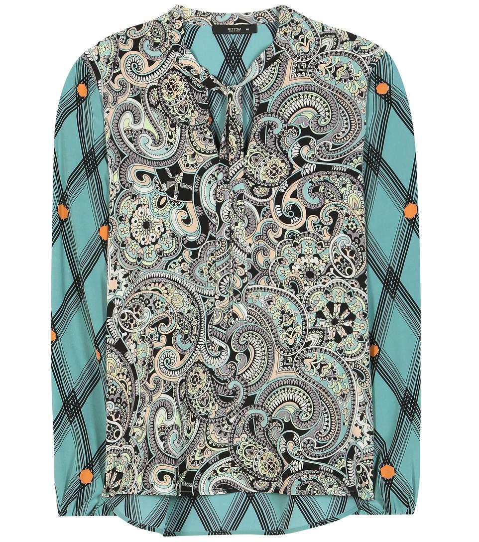 Etro Printed Silk Blouse In Multicoloured