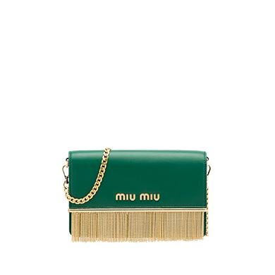 Miu Miu Leather Shoulder Bag In Billiard Green