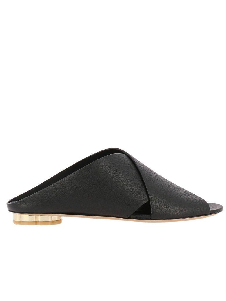 Salvatore Ferragamo Black Leather Lasa 10 Sandals
