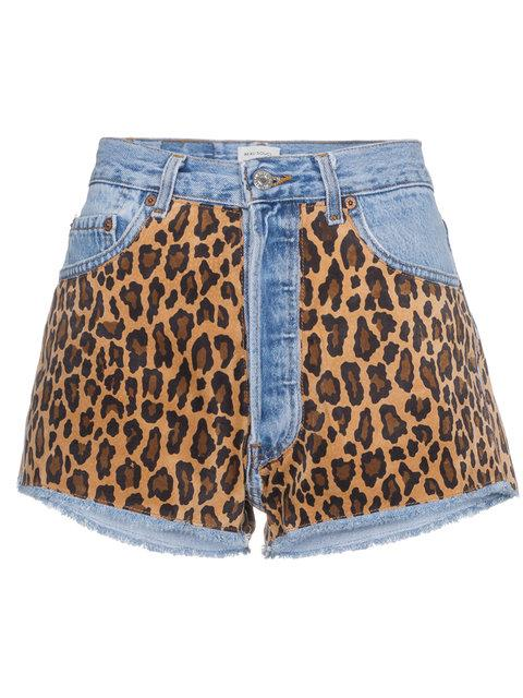 Beau Souci Denim Shorts With Leopard Print In Blue