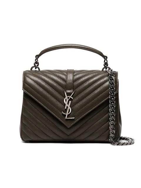 Saint Laurent Khaki Green Monogram Quilted Leather Shoulder Bag