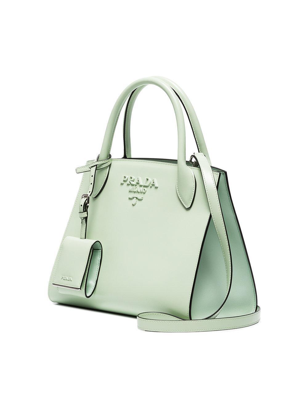2735824d83 Prada Green Monogram Leather Tote Bag