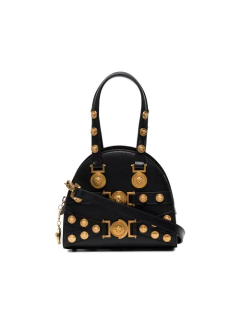 Versace Small Tribute Studded Leather Satchel - Black