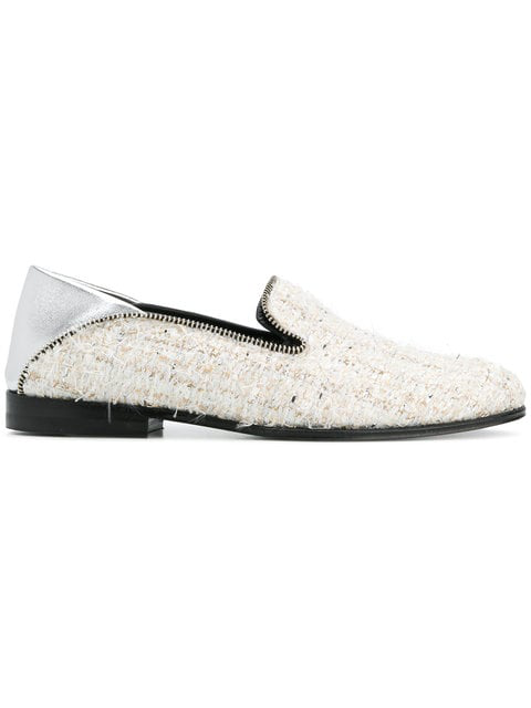 Alexander Mcqueen Leather-Trimmed Tweed Loafers In 9268
