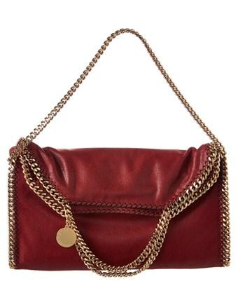 Stella Mccartney Falabella Shaggy Deer Fold Over Tote In Ruby
